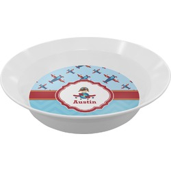 Airplane Theme Melamine Bowl - 12 oz (Personalized)