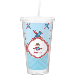 Airplane Theme Double Wall Tumbler with Straw (Personalized)