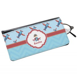 Airplane Theme Genuine Leather Eyeglass Case (Personalized)
