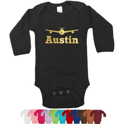 Airplane Theme Foil Bodysuit - Long Sleeves - 6-12 months - Gold, Silver or Rose Gold (Personalized)
