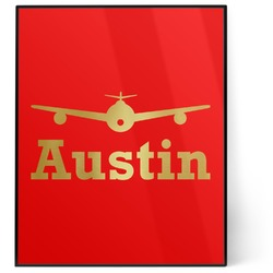 Airplane Theme 8x10 Foil Wall Art - Red (Personalized)
