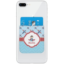 Airplane Theme Genuine Leather Adhesive Phone Wallet (Personalized)