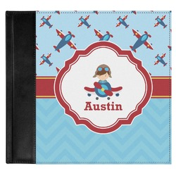 Airplane Theme Genuine Leather Baby Memory Book (Personalized)