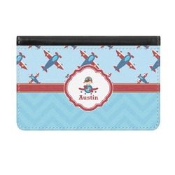 Airplane Theme Genuine Leather ID & Card Wallet - Slim Style (Personalized)