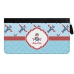 Airplane Theme Genuine Leather Ladies Zippered Wallet (Personalized)