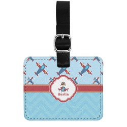 Airplane Theme Genuine Leather Rectangular  Luggage Tag (Personalized)