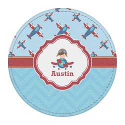 Airplane Theme Round Desk Weight - Genuine Leather  (Personalized)