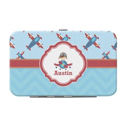 Airplane Theme Genuine Leather Small Framed Wallet (Personalized)