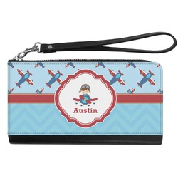 Airplane Theme Genuine Leather Smartphone Wrist Wallet (Personalized)