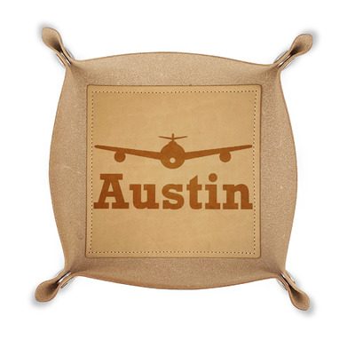 Airplane Theme Genuine Leather Valet Tray (Personalized)