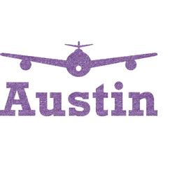 Airplane Theme Glitter Sticker Decal - Custom Sized (Personalized)