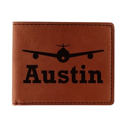 Airplane Theme Leatherette Bifold Wallet (Personalized)