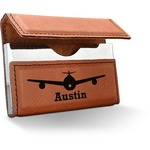 Airplane Theme Leatherette Business Card Case (Personalized)
