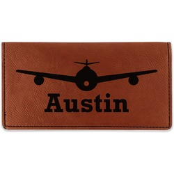 Airplane Theme Leatherette Checkbook Holder (Personalized)