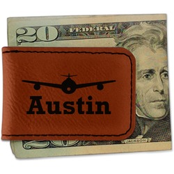 Airplane Theme Leatherette Magnetic Money Clip - Single Sided (Personalized)