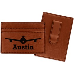 Airplane Theme Leatherette Wallet with Money Clip (Personalized)