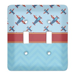 Airplane Theme Light Switch Cover (2 Toggle Plate) (Personalized)