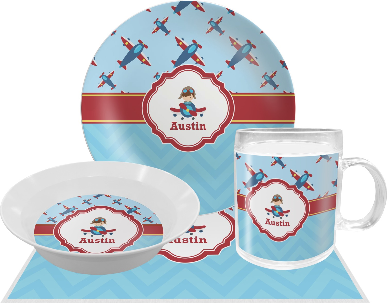 Airplane Theme Dinner Set - 4 Pc (Personalized)  sc 1 st  YouCustomizeIt & Airplane Theme Dinner Set - 4 Pc (Personalized) - YouCustomizeIt