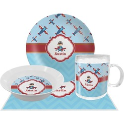 Airplane Theme Dinner Set - 4 Pc (Personalized)