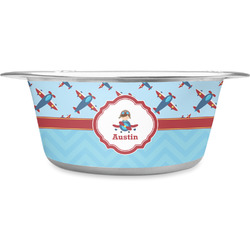 Airplane Theme Stainless Steel Pet Bowl - Medium (Personalized)