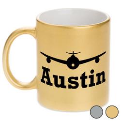 Airplane Theme Metallic Mug (Personalized)