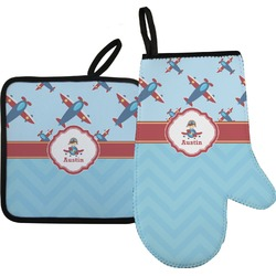 Airplane Theme Oven Mitt & Pot Holder (Personalized)