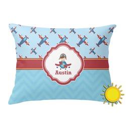 Airplane Theme Outdoor Throw Pillow (Rectangular) (Personalized)