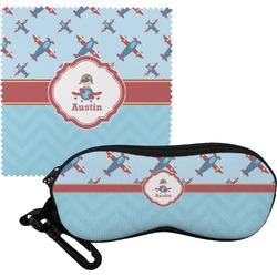 Airplane Theme Eyeglass Case & Cloth (Personalized)