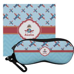 Airplane Theme Eyeglass Case & Cloth (Personalized)