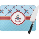 Airplane Theme Rectangular Glass Cutting Board (Personalized)
