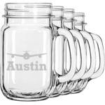 Airplane Theme Mason Jar Mugs (Set of 4) (Personalized)