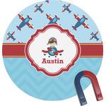Airplane Theme Round Fridge Magnet (Personalized)