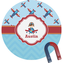 Airplane Theme Round Fridge Magnet (Personalized)