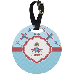 Airplane Theme Round Luggage Tag (Personalized)