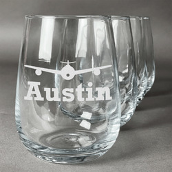 Airplane Theme Stemless Wine Glasses (Set of 4) (Personalized)