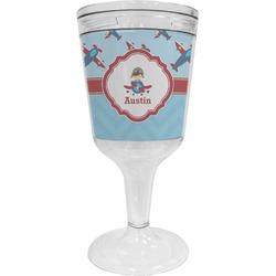 Airplane Theme Wine Tumbler - 11 oz Plastic (Personalized)