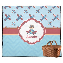 Airplane Theme Outdoor Picnic Blanket (Personalized)