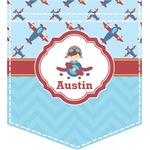 Airplane Theme Iron On Faux Pocket (Personalized)