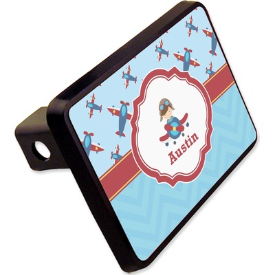 """Airplane Theme Rectangular Trailer Hitch Cover - 2"""" (Personalized)"""