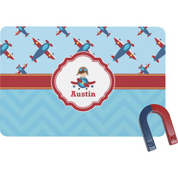Airplane Theme Rectangular Fridge Magnet (Personalized)