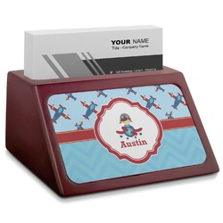 Airplane Theme Red Mahogany Business Card Holder (Personalized)