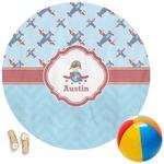 Airplane Theme Round Beach Towel (Personalized)