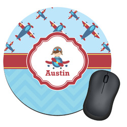 Airplane Theme Round Mouse Pad (Personalized)
