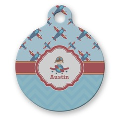 Airplane Theme Round Pet Tag (Personalized)
