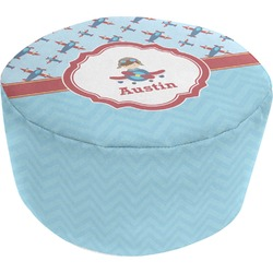 Airplane Theme Round Pouf Ottoman (Personalized)