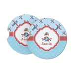 Airplane Theme Sandstone Car Coasters (Personalized)