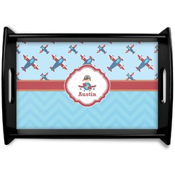 Airplane Theme Black Wooden Tray (Personalized)