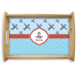 Airplane Theme Natural Wooden Tray (Personalized)