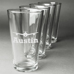 Airplane Theme Beer Glasses (Set of 4) (Personalized)