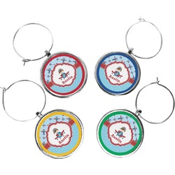 Airplane Theme Wine Charms (Set of 4) (Personalized)
